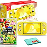 Nintendo Switch Lite (Yellow) Console Bundle with New Super Mario Bros. U Deluxe and 6Ave Cleaning Cloth