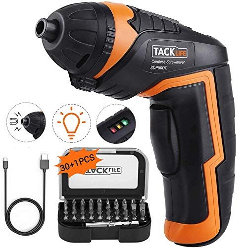 Product Image of the TACKLIFE Electric Screwdriver, 3.6V MAX Cordless Screwdriver, 2.0Ah Li-ion with Battery Indicator, 31 Free Accessories, USB Rechargeable, Lightweight and Easy for Small Home Projects-SDP50DC