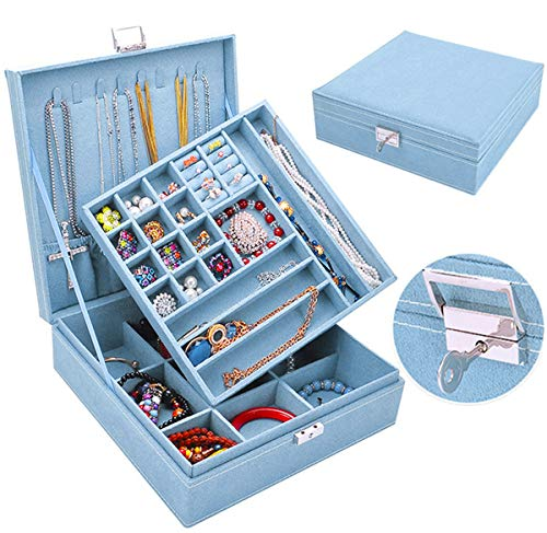 Jewelry Box for Women Girls, QBeel 2 Layer 36 Compartments Necklace Jewelry Organizer Box with Lock Jewelry Holder Display Storage Case for Earrings Bracelets Rings - Sky Blue