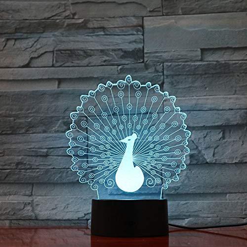 LIkaxyd Pfauenachtlicht 3D Illusion 7 Farbwechsel Dekoratives Licht Kind Kind Mädchen Geschenk Tier Pfau Taiwan Led Nachtlicht Bett Kopf