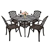 TITIMO 5-Piece Outdoor Furniture Dining Set, All-Weather Cast Aluminum Conversation Set Includes 4 Chairs and 1 Round Table with Umbrella Hole for Patio Garden Deck, Lattice Weave Design