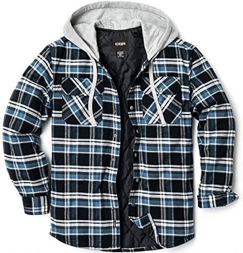 CQR Herren Kapuzen Gesteppte Gefüttert Flanell-Hemd Jacke, Lange Hülse Plaid Button Up Jackets, Hok720 1pack - Black & Blue, S