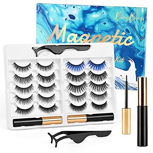 Pestañas magnéticas set 10 Pares Pestañas magnéticas artificiales Delineador de ojos magnétic Multi Styles Lashes Reusable Pestañas Postizas Magnéticas Kit