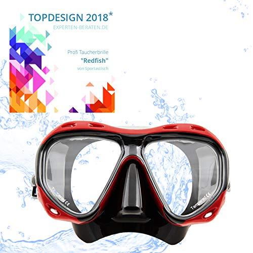 """Sportastisch Taucherbrille """"Redfish"""" mit weichen Doppeldichtungen & verstellbarem Silikonmaskenband, wasserdichte Tauchermaske für Erwachsene, bis zu 3 Jahren Garantie für Top Design*"""