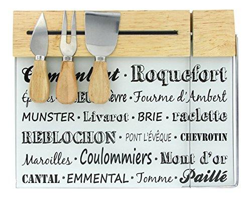 Totally Addict KA1635 Plateau à fromage Lyre intégrée et ses 3 ustensiles couteaux fourchette hachette Avec support aimanté Bois inox et verre Beige gris et noir H2 x 24 x 31 cm