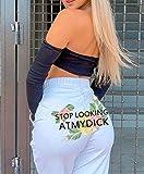 quming Alta Cintura EláSticos Transpirables Running,Tendencia Pantalones Deportivos Casuales con Estampado de Trasero Grande, Pantalones Deportivos de Yoga de Moda-White_L