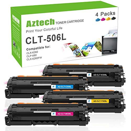 Aztech Kompatibel Toner Cartridge Replacement für Samsung CLT-K506L CLT-C506L CLT-M506L CLT-Y506L CLT-506L Toner für Samsung CLX-6260 CLX-6260FW CLX-6260FR CLX-6260FD CLX-6260ND CLP-680 CLP-680ND