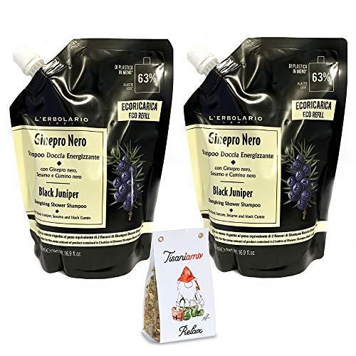 2 x L'Erbolario – Shampooing douche énergisant Ginepro noir – Ecorecharge de 500 ml (2 paquets de 500 ml pour économiser de l'argent et de l'écologie + Tisane aux herbes Tisaniamo offerte).