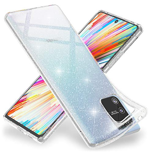 NALIA Glitter Hülle kompatibel mit Samsung Galaxy S10 Lite Hülle, Bling Silikon Handyhülle Strass Cover Durchsichtig, Dünne Handy-Tasche Schutzhülle Phone Etui Diamond Bumper Soft, Farbe:Transparent