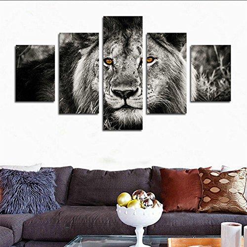 HCOZY h. Cozy 5Pezzi Bianco e Nero Grigio Lion Head Portrait Wall Art Painting Pictures Print on Canvas Animal The Picture for Home Modern Decoration Senza Cornice FAR163127x 76,2cm