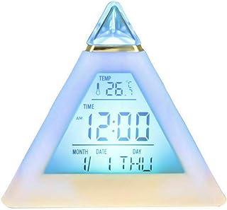 TOTMOX 目覚まし時計 LED デジタル トライアング Walmart Global正規店 7色変更 スヌーズモード イルミネーション アラーム クロック 電子時計 目覚まし ベッドサイドクロック ピラミッド型 夜光る 温度計 ギフト プレゼント