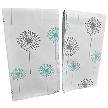 """Crabtree Collection Premium Quality Set of 2 Kitchen Dish Towels 100% Cotton Absorbent Tea Towels – Classy Turquoise and Grey Dandelion Design – Ideal 18"""" x 28"""" Dimensions …"""