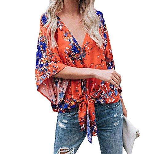 ESAILQ Damen weißes bügelfreies braun grau lila kariert mintgrün weiß schöne freizeithemd seidenhemd günstige modern pink gestreiftes Kurzarmhemd (XL,Orange)