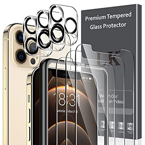 LK Schutzfolie Kompatibel mit iPhone 12 Pro Panzerglas, 6.1 Zoll, 3 Panzerfolie & 3 Kamera Folie, 9H Festigkeit 12 Pro Panzerglasfolie, HD Klar Bildschirmschutz, Kratzen, Blasenfrei