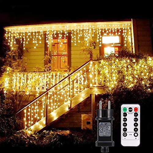 Cascata luci!B-right Tende 480 LED con telecomando, tenda led con 8 modalità, luci matrimonio per feste, casa, cortile, finestra, patio, facciata, Natale, San Valentino, matrimonio ecc. (Bianco caldo)