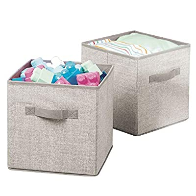 mDesign Soft Fabric Closet Storage Organizer Bin Box - Front Handle, for Cube Furniture Shelving Units Bedroom, Nursery, Toy Room - Textured Print - Small, 2 Pack - Linen/Tan