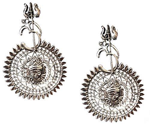 Pendientes indios Bollywood étnicos tradicionales de fiesta, moda afgana, tribal, plata oxidada, joyería de templo