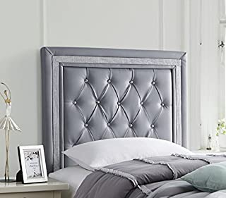 Tavira Allure College Dorm Headboard - Alloy with Silver Crystal Border - with Legs
