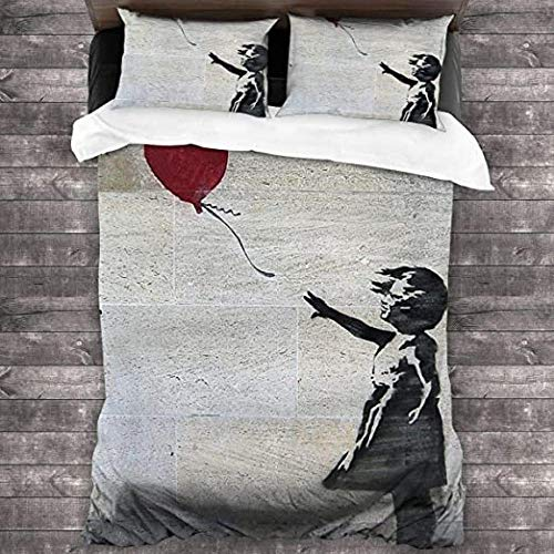 HUA JIE 3-Piece Bedding Set Ba-nk-sy's Girl With A Red Balloon 1 Duvet Cover And 2 Pillowcases,Ultra Soft And Breathable