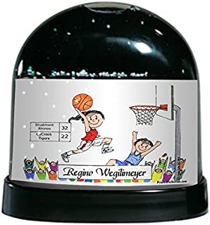 PrintedPerfection.com Personalized Friendly Folks Cartoon Caricature Snow Globe Gift: Basketball Player - Female Great for Basketball Player, Fan, Team