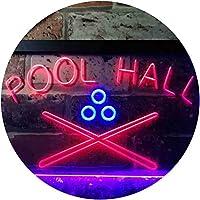 Pool Hall Snooker Room Illuminated Dual Color LED看板 ネオンプレート サイン 標識 青色 + 赤色 400 x 300mm st6s43-i0589-br