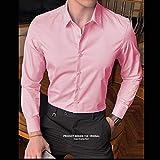 Camisas De Hombre Camisa De Manga Larga De Algodón Sólido Slim Fit Hombre Social Casual Negocios Blanco Camisa De Vestir Negra 8Xl120Kg-130Kg Rosa