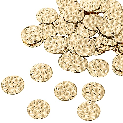 100 Pieces Flat Round Pendant Stamping Tag Charms with Hole 15 mm Fish Scale Style Charms Flat Disc Coin Pendant for DIY Dangle Drop Earrings Necklaces Bracelets Jewelry Crafts Making, Golden