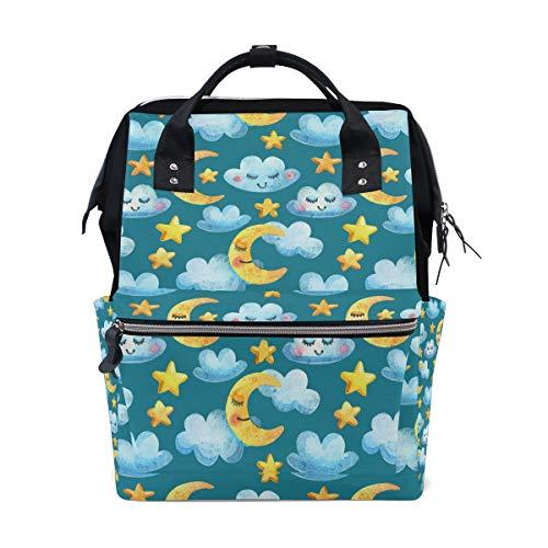 Cartoom Emotion Luna Nubes Estrellas Patrón Pañal Bolsas Momia Bolsas De Gran Capacidad Multifunción Mochila para Viajes