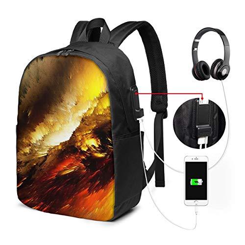 Mochila Portatil 17 Pulgadas Mochila Hombre Mujer con Puerto USB, Apocalipsis Cielo ardiente Mochila para El Laptop para Ordenador del Trabajo Viaje