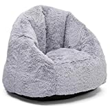 Delta Home Adult Lounge Chair - Fluffy Foam Filled Chair for Living Rooms & Dorms - Better Than a Bean Bag Chair, Grey