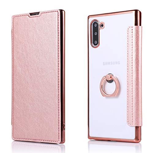Miagon Coque Clapet pour Samsung Galaxy Note 10,PU Leather Housse Étui avec Clair TPU Silicone Placage Technologie Backcover 360 Ring Stand et Fente Carte,Or rose