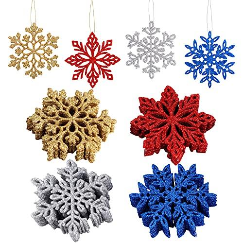 Copos de Nieve Navideños,36 Piezas Árbol Navidad Decoración 10 cm Purpurina Copos de Nieve Navideños con Alambre Dorado Navidad Adornos Copos Nieve para decoración de fiesta de árbol de Navidad