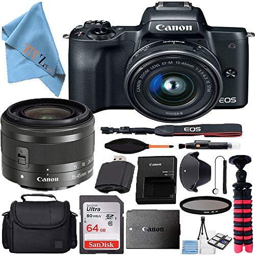 Canon EOS M50 Mirrorless Digital Camera with 15-45mm Lens Bundle + SanDisk 64GB Memory Card + Hi-Speed USB Card Reader + Spider Tripod + Camera Gadget Bag (17 pcs Bundle) (15-45mm 64GB)