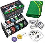 Poker 200 Fiches Chips Gioco Carte Valigetta Alluminio Set Kit gettoni Chip Dealer Texas Hold'em Holdem Tappetino
