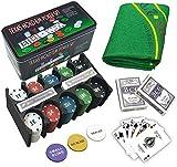 EUROXANTY® Set di Poker e Blackjack | Robusta Scatola di Metallo + Tappetino da Gioco | Facile da trasportare
