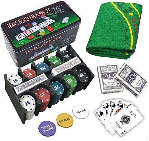 EUROXANTY Set de Póker y Blackjack | Resistente Caja de Metal + Tapete de Juego | Fácil de Transportar