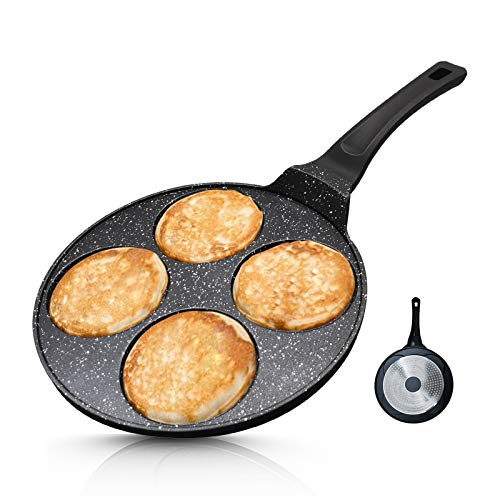 Vinchef Silver Dollar Pancake Pan Nonstick, 7-Mold 10.5 Inch Cast Aluminum Pancake Griddle, Even Heating & Easy to Clean Pancake Maker, Mini Crepe Maker Blini Pan with Anti-Scalding Handle Suitable for All Stoves, 100% PFOA Free Coating