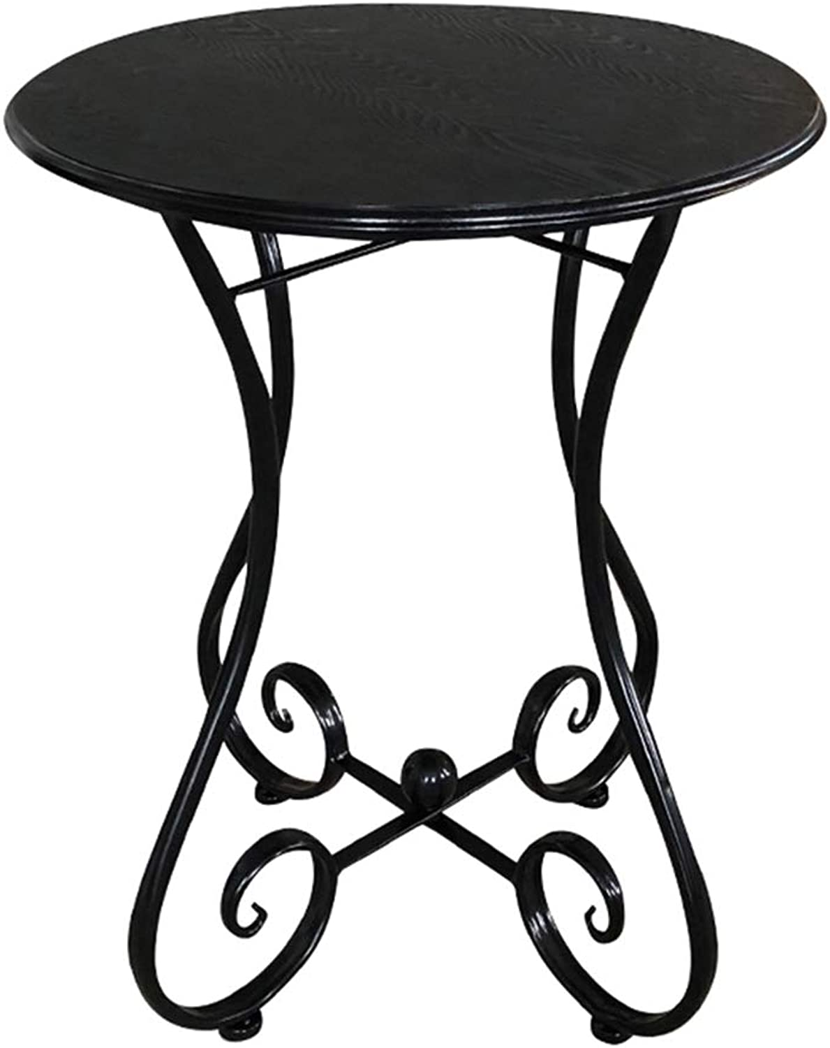 XIAOYAN End Table Sofa Side Table Solid Wood + Wrought Coffee Table Multifunctional Small Round(Colour  Black 4 Sizes ) Multifunction (Size   40  55cm)