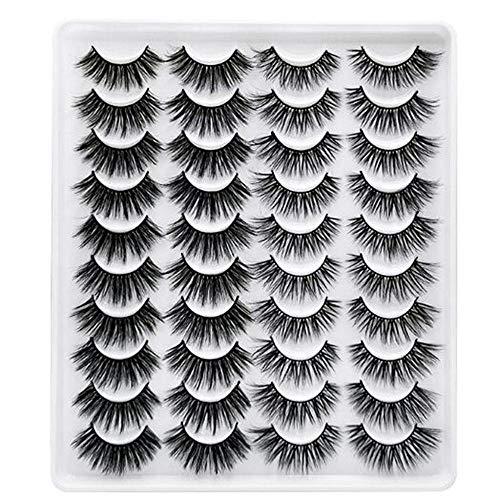 WYKAI Faux 3D Mink Lashes Multipack, 20 pares 15-20mm Kit de maquillaje de pestañas postizas naturales suaves Extensión de pestañas de visón Volumen dramático