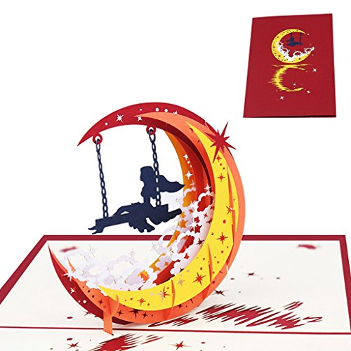 wiffe 3D Pop up Moon Girl Karte handgefertigt Happy Birthday Weihnachten Neues Jahr Einladung