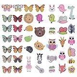 100 piezas Botón de madera de, broches decorativos, botones de presión con agujeros para coser, Scrapbooking, adornos, manualidades, fabricación de joyas, shabby chic, tejido de punto (animal)