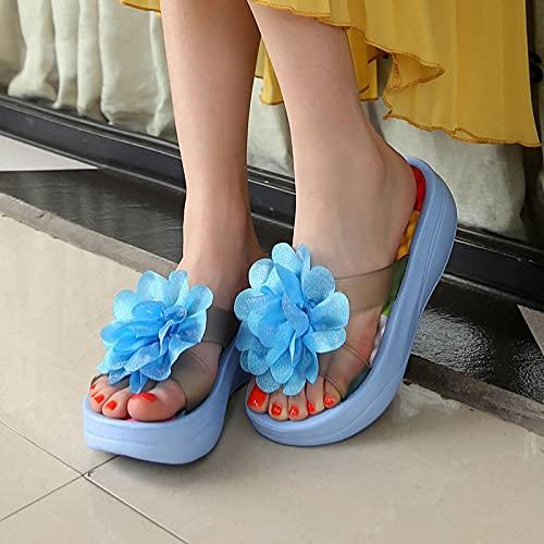 NISHIWOD Zapatillas Casa Chanclas Sandalias Zapatillas De Plataforma Planas Bohemias para Mujer Diseño De Flores Lady Beach Chanclas De Eva Informales Cómodas 8 Azul Cielo