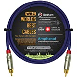 2.5 Foot SPDIF Cable – Gotham GAC-1 S/PDIF-Pro (Ultrablue) High-End Silver Plated LCOFC Digital Audio Interconnect Cable & Amphenol ACPR-SRD Gold RCA Plugs - Custom Made by WORLDS BEST CABLES