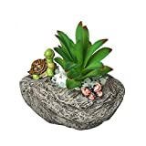 Small Succulent Pots, 1PCS Faux Rock Style Flower Pot-Cute Turtle and Butterfly Animal Succulent Planter with Drainage Hole Resin Cactus Planter Herbs Bonsai Plant Container Holder Home Decor