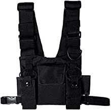 MOLLYGAN Universal Two-Way Radio Case Harness Chest Rig Bag Tactical Hip Hop Streetwear Functional Vest Pocket Front Pack Pouch Holster for Men & Women (M)