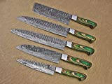5 Pieces Damascus Steel Hammered Kitchen Knife Set, 2 Tone Green Wood Scale, 54 Inches Long Sharp Knives, Custom Made Hand Forged Hammered Damascus Steel Blade, Goat Suede Roll Leather Sheath