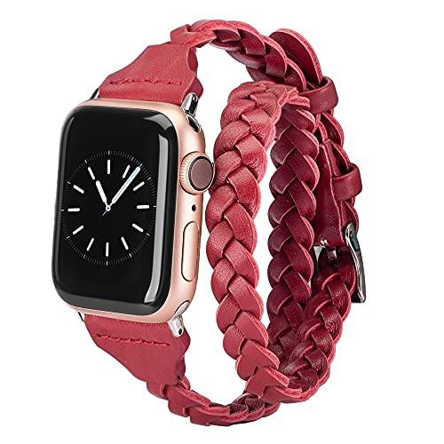 Voshion Banda de doble envoltura de cuero para Apple Watch Accesorios para mujeres 38mm 40mm 42mm 44mm Correa de reloj iWatch Series 5 4 3 2 1 (rojo)