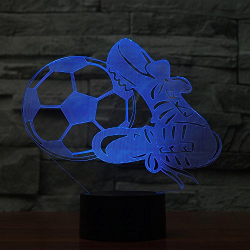 Children's Lighting Night Stand Lamp Football Shoes 3D Led Night Light 7 Color Changeable Led USB Touch Remote Table Lamp 3D Illusion Lightsfootball Fans Best Gift Remote Control 16 Colors