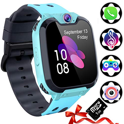 1,54''Kinder Uhr Telefon Smart Watch (SD-Karte Inklusive), Jungen & Mädchen Kamera Smartwatch mit Calling Music Player SOS Spiele und Musik-Player, Full Touch Digital Wrist Watch 3-12y
