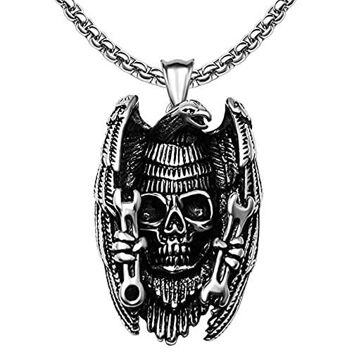 YANGFJcor Collar Colgante Personalizado de Calavera de Cuervo de Acero Inoxidable para Hombre, Mujeres Niños Vintage Gótico Punk Rock Hip Hop Biker Amuleto Regalo,Crow Skull,60cm
